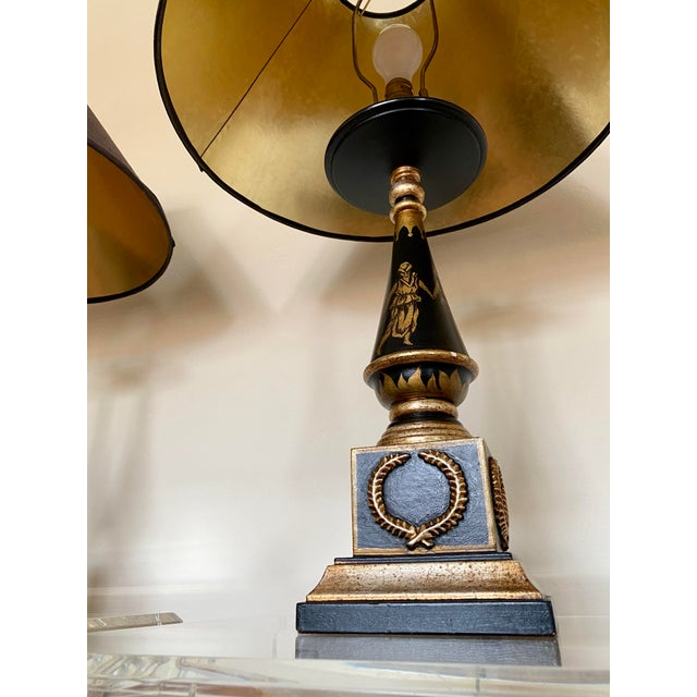 Metal Italian Hand Painted Neoclassical Style Gilt Wood Lamps - a Pair For Sale - Image 7 of 13