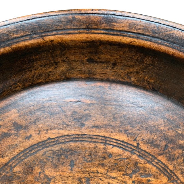19th Century Large 19th Century Antique Turned Wood Tray For Sale - Image 5 of 9