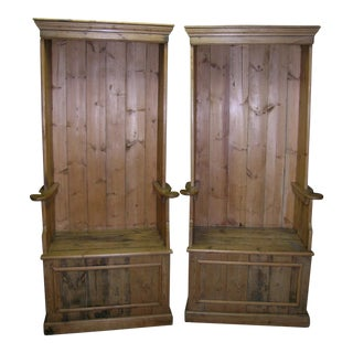 1900s Antique Pine Porters Chairs - A Pair For Sale