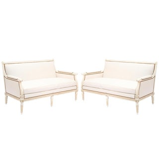 Louis XVI Style Upholstered Sofas - a Pair For Sale