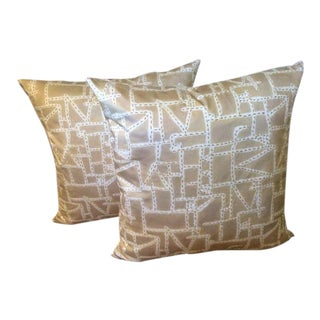 "Donghia ""Prickly Pear"" Sand Printed Hand Stitched Pillows - A Pair"