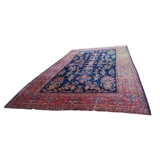 Antique Persian Hand Knotted Sarouk Wool Rug For Sale