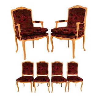 Louis XV Style French Provincial Century Furniture Dining Chairs - Set of 6 For Sale