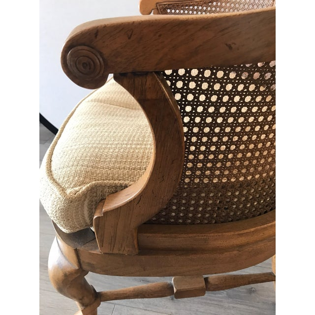 Mid-Century Modern French Barrel Back Caned Armchair For Sale In New York - Image 6 of 8