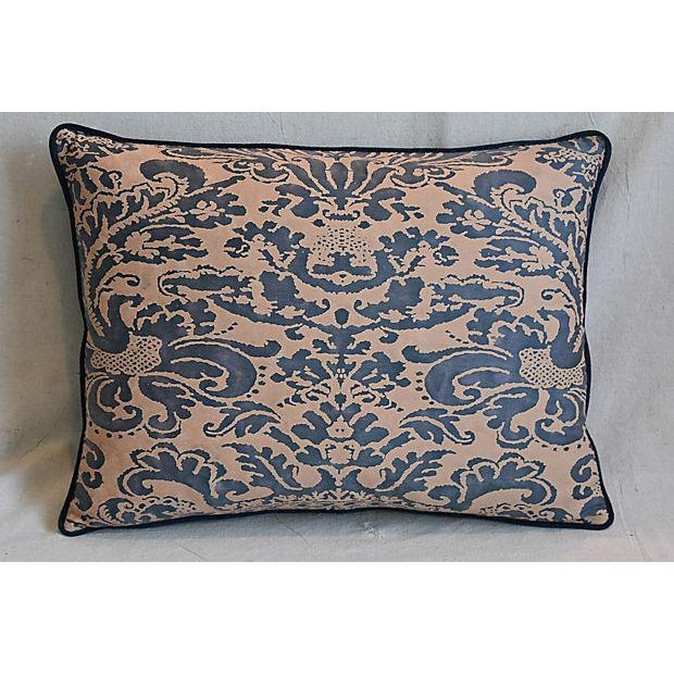 "Belgian Custom Tailored Italian Fortuny Corone & Velvet Feather/Down Pillow 24"" X 18"" For Sale - Image 3 of 7"