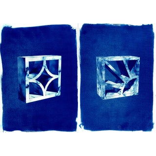 Beautiful Pair of 3d Bricks, Cyanotype Prints on Watercolor Paper, Limited Edition For Sale