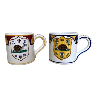 Italian Handmade Palio Mugs With Banner - a Pair For Sale