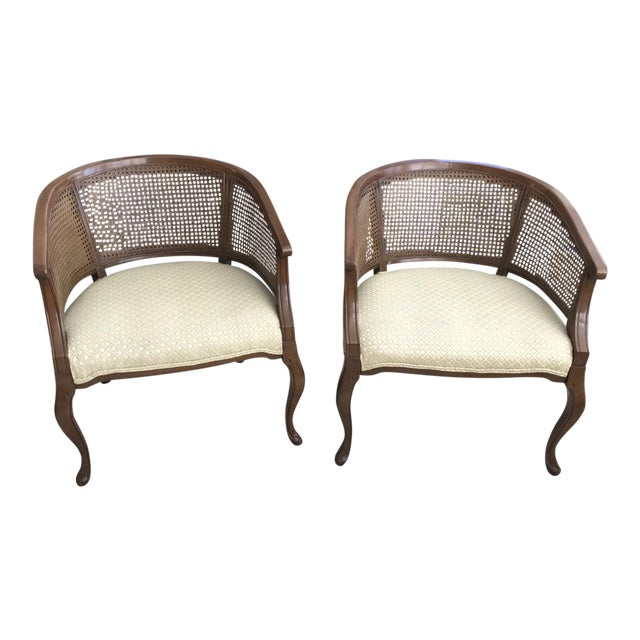Barrel Cane Work Chairs - A Pair For Sale
