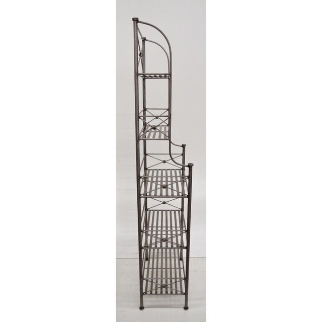 Metal Pier 1 Medici Collection Pewter Iron Bakers Rack Shelf / Bathroom Stand Etagere For Sale - Image 7 of 11