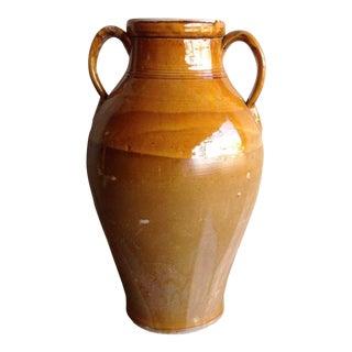 "Italian Antique Glazed Ceramic Jar From Puglia- 19"" For Sale"
