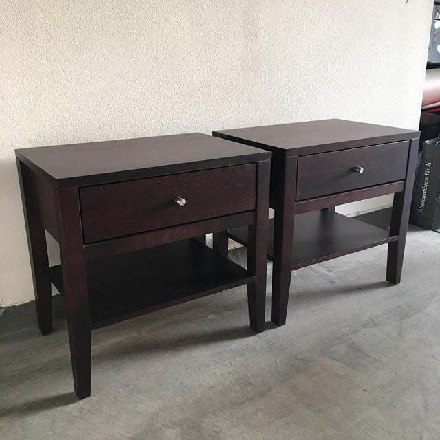 Contemporary Room & Board Brown Wooden Calvin Nightstands - Pair For Sale - Image 3 of 9