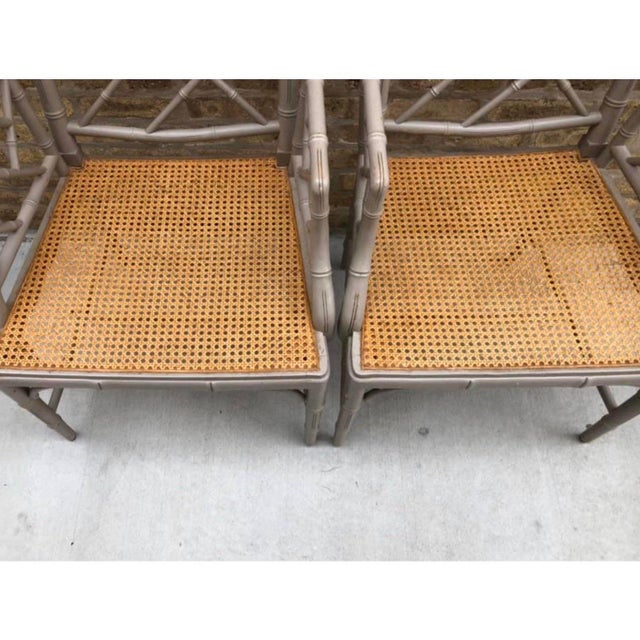 Vintage Bamboo Chinoiserie Hollywood Regency Style Armchairs - a Pair For Sale - Image 4 of 6