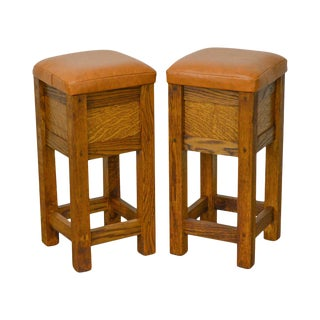 Mission Oak Leather Seat Counter Stools - a Pair