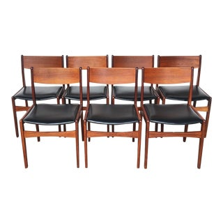 1960s Vintage Teak Dining Chairs- Set of 7 For Sale