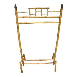 Antique Victorian English Scorched Bamboo Towel / Quilt Rack