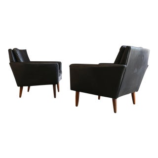 Danish Modern Georg Thams for Vejen Polstermøbel Black Leather Lounge Chairs - a Pair