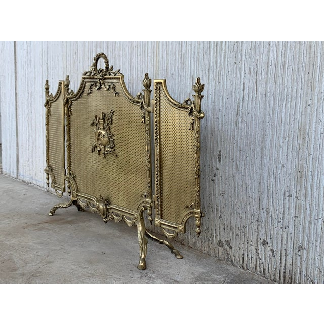French 19th Century French Louis XVI Style, Three-Panel Bronze Fire Screen For Sale - Image 3 of 9