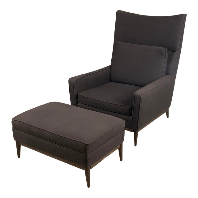 1950s Paul McCobb for Directional High Back Lounge Chair and Ottoman For Sale