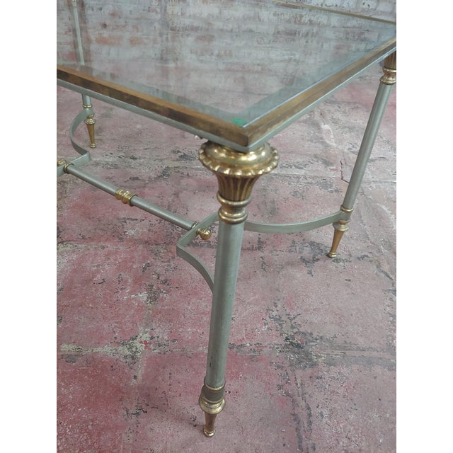 Beautiful Vintage Brass French Coffee Table W/Glass Top For Sale In Los Angeles - Image 6 of 10
