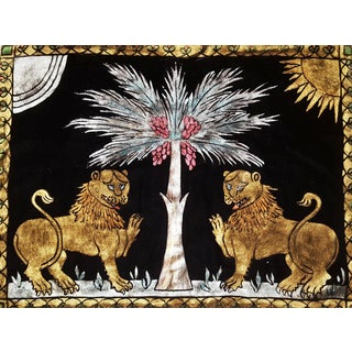 Ruggero Lions Silk Velvet Pillow For Sale