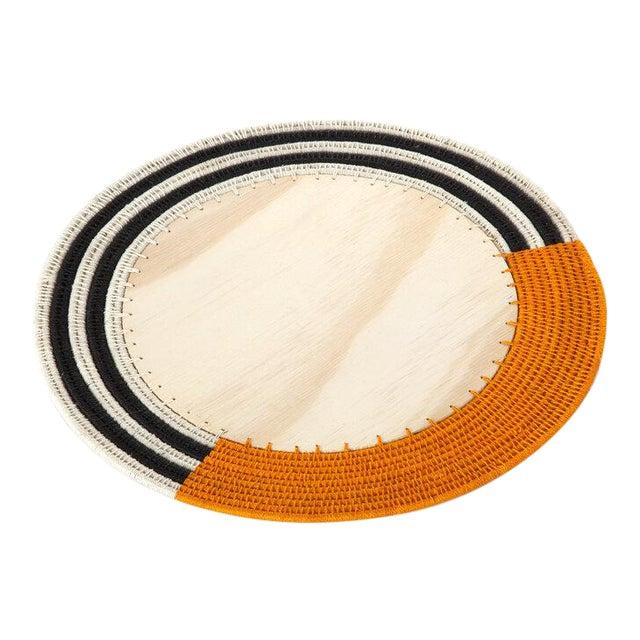 Round Stripe Charger Mango/cream & Black For Sale