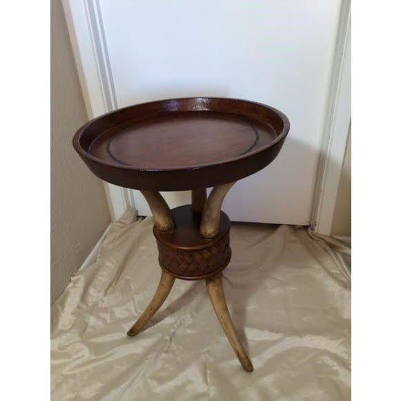 African-Style Faux Horn Side Table - Image 2 of 4