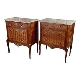 Late 19th Century Antique French Louis XVI Style Commodes-A Pair For Sale