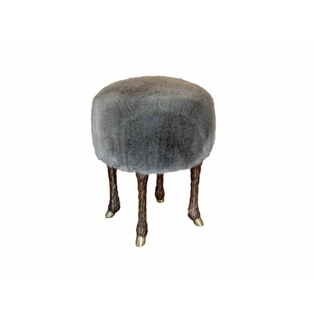 2010s Marc Bankowsky - Stool With Goat Feet in Bronze and Velvet Mohair, France, 2016 For Sale - Image 5 of 5
