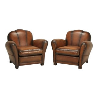 French Art Deco Cloud Back Style Club Chairs - a Pair For Sale