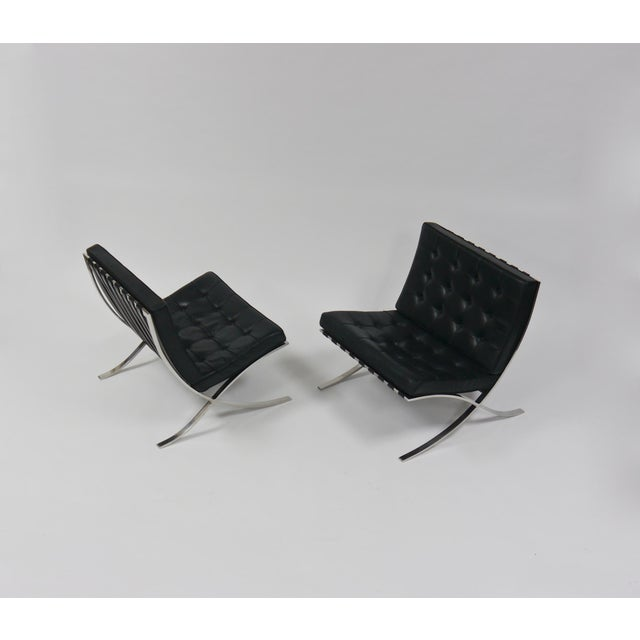 Bauhaus Exceptional Pair of Barcelona Chairs by Mies Van Der Rohe for Knoll For Sale - Image 3 of 10