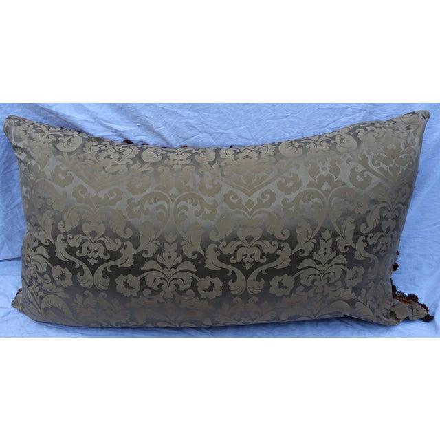Mohair Custom Mohair & Silk Damask Pillow w/ Tassel Fringe by Melissa Levinson For Sale - Image 7 of 10