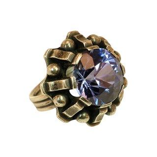 Artist-Signed Modernist Blue Topaz Sterling Ring, 1960s For Sale