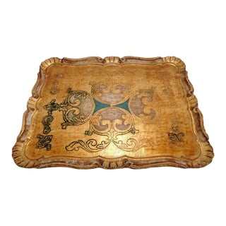 1960's Italian Florentine Gold Gilt Wood Serving Tray For Sale