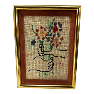 Late 20th Century Pablo Picasso Bouquet of Peace Needlepoint Textile Art, Framed For Sale