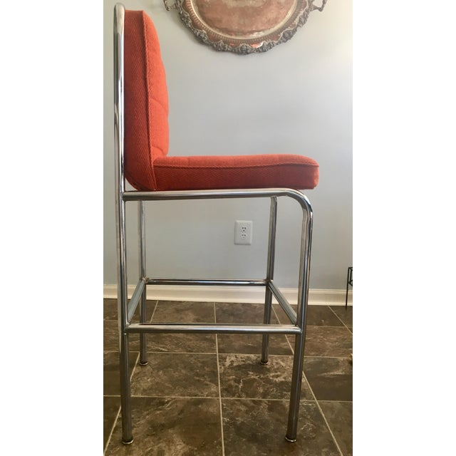 Chrome Mid-Century Orange Upholstered Chrome Tube Bar Stools - A Pair For Sale - Image 7 of 10
