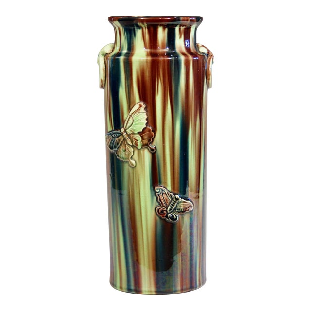 Early 20th Century Pottery Vase with Butterfly Motif and Drip Flambe Glaze For Sale