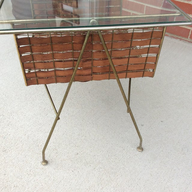 Boho Chic Mid Century Two Tier Wicker Ribbon Weave & Brass Glass Top Patio Table For Sale - Image 3 of 10