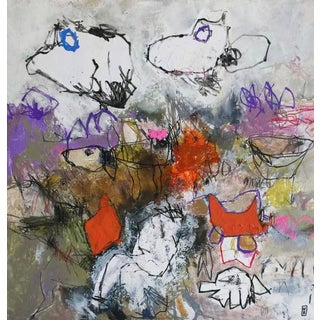 """Contemporary Abstract French Painting on Canvas """"Point Mort"""" by Nadine Bourgne For Sale"""