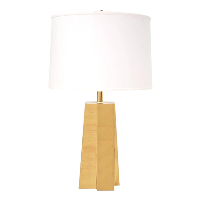 Pair of Faceted Brass Table Lamps For Sale