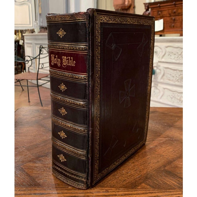 Mid 19th Century 19th Century English Black Leather-Bound and Gilt Tooling Holy Family Bible For Sale - Image 5 of 10