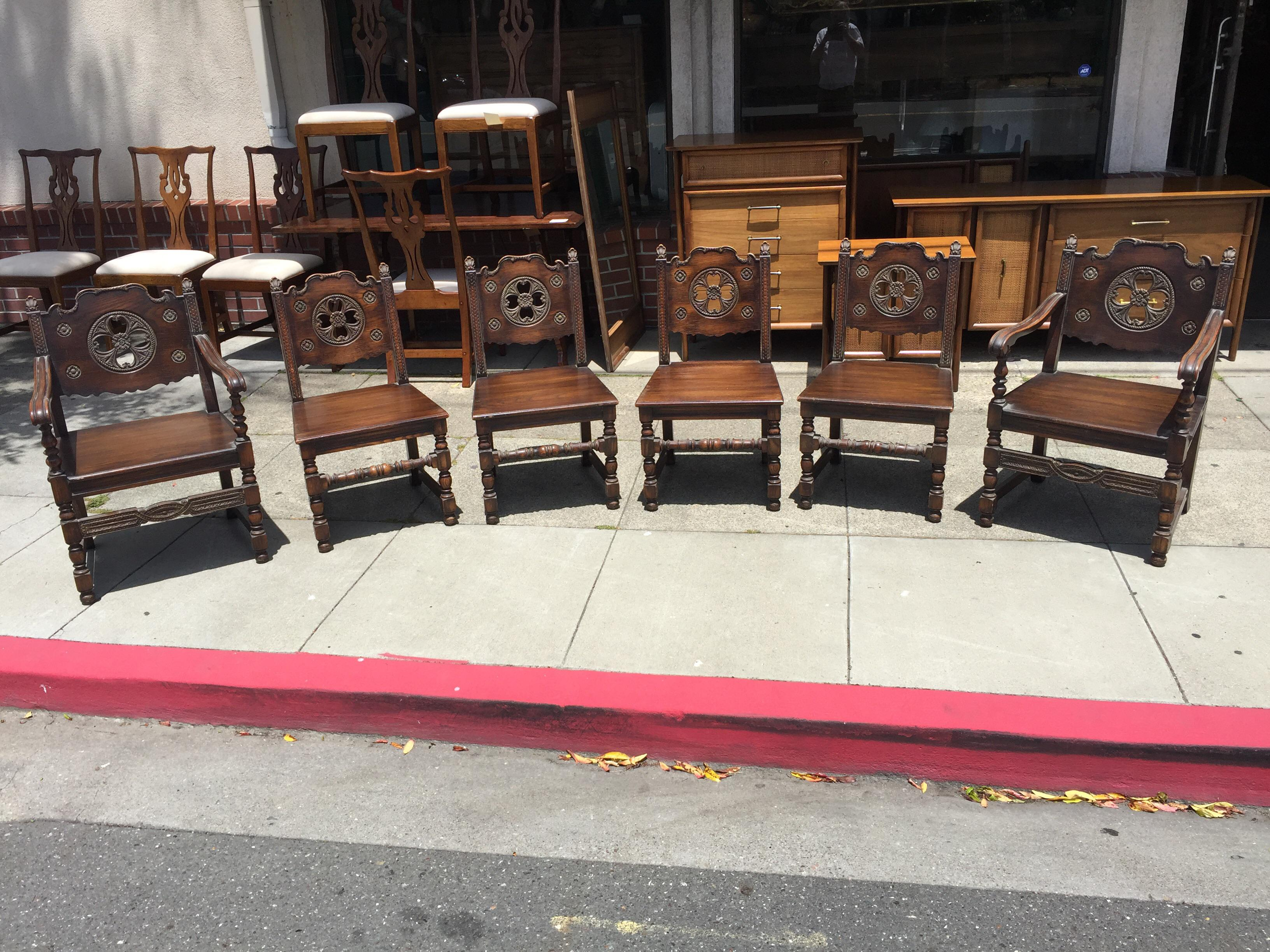 Set Of Carved Spanish Mediterranean Chairs. In Excellent Condition, Very  Sturdy With No Damage