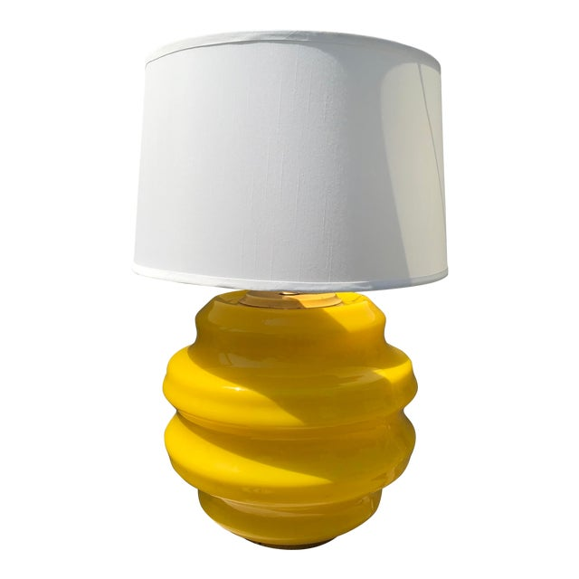Mid Century Modern Yellow Glass Table Lamp For Sale