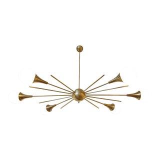 Sputnick brass & milk glass chandelier, mid century modern, attr to Stilnovo