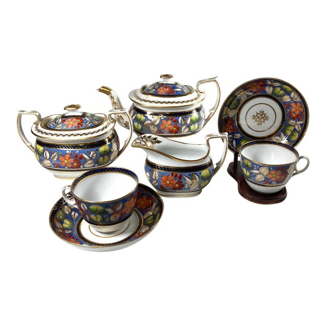 "Early 19th Century English Georgian New Hall ""1126"" Porcelain Tea Service for 2 - Set of 5 Pieces For Sale"