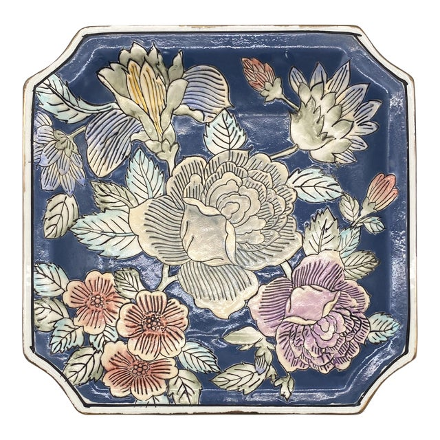 20th Century Chinoiserie Blue and Pink Floral Vide Poche/Catchall Dish For Sale