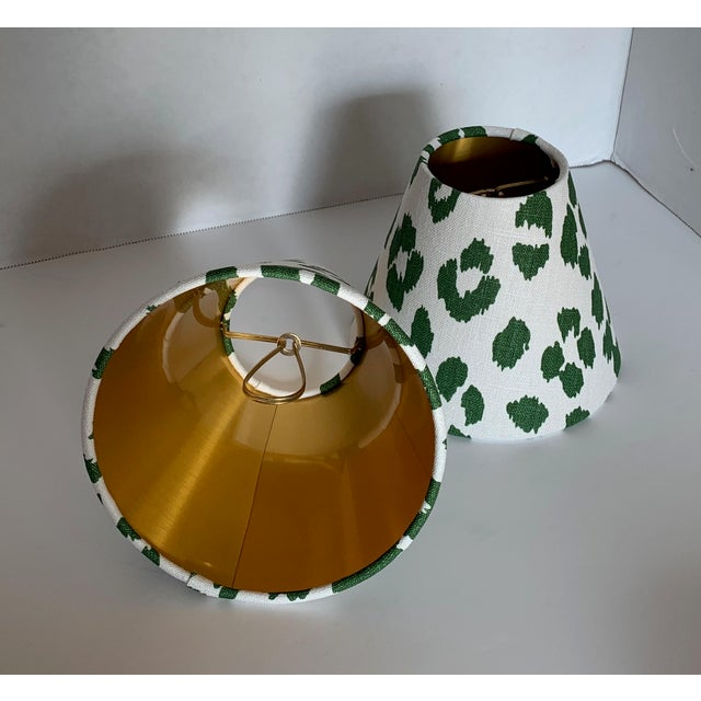 Details: - New, custom, handcrafted sconce or chandelier shade shade - Fabric: Schumacher's Iconic Leopard in Green, a...