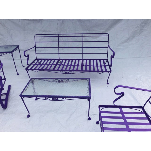 Mid-Century Modern C. 1970s Fresh Violet Paint 5-Piece Outdoor Set For Sale In New York - Image 6 of 13