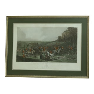Vintage Wh Simmons Colored Engraving English Hunt Scene For Sale