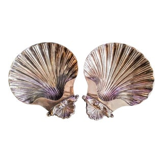A Pair Sheffield England Silver Plated Clam Shell Small Trinket Plates For Sale