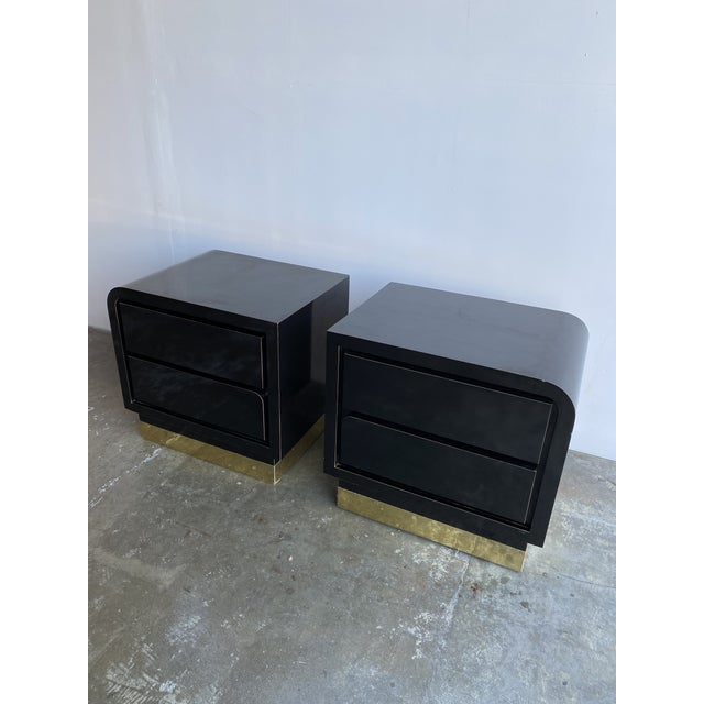 1980s Black Laqcuer and Brass Nighstands-a Pair For Sale - Image 10 of 12